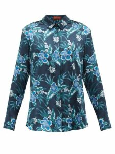 Altuzarra - Chika Hibiscus-print Silk-blend Charmeuse Blouse - Womens - Blue Print