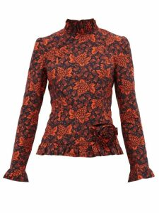 Batsheva - Rosette Red Grape-print Cotton Top - Womens - Black Red