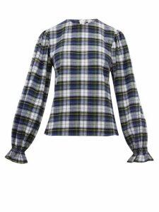 Batsheva - Peasant-sleeve Checked Cotton Top - Womens - Blue Multi