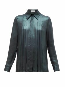 Gabriela Hearst - Pierre Pleated Silk-lamé Shirt - Womens - Green