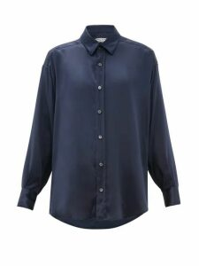 Katharine Hamnett London - Nicola Silk Satin Shirt - Womens - Navy