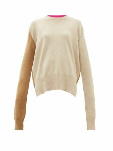 La Fetiche - Louis Two-tone Wool Sweater - Womens - Camel