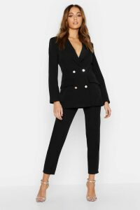 Womens Double Breasted Military Blazer - Black - 10, Black