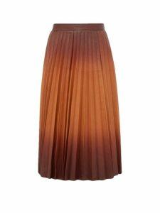 Givenchy - Degradé Pleated-leather Midi Skirt - Womens - Brown Multi