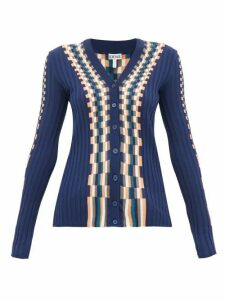 Loewe - Checked Cotton Cardigan - Womens - Blue Multi