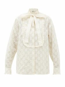 Gucci - Gg Broderie-anglaise Cotton-blend Shirt - Womens - White Gold