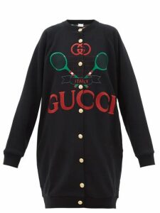 Gucci - Logo-embroidered Reversible Sweatshirt Cardigan - Womens - Black Multi