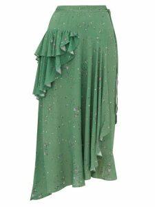 Preen Line - Electra Ruffled Floral-print Crepe Wrap Skirt - Womens - Green Multi