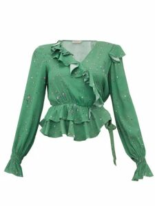 Preen Line - Paloma Floral-print Crepe Wrap Top - Womens - Green Multi