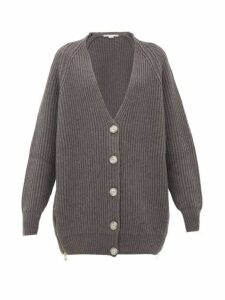 Stella Mccartney - Oversized Zipped-side Ribbed Wool Cardigan - Womens - Grey