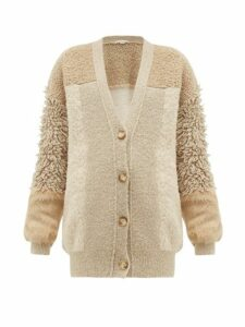 Stella Mccartney - Faux Fur-trimmed Knitted Cardigan - Womens - Beige Multi