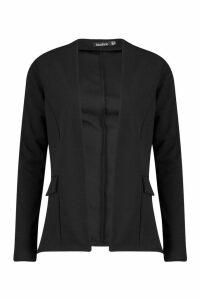 Womens Collarless Blazer - Black - 6, Black