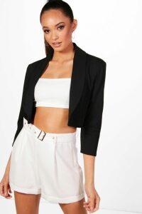 Womens Collared Crop Blazer - Black - 10, Black