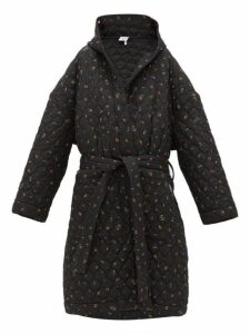 Vetements - Floral Print Quilted Hooded Robe Coat - Womens - Black Multi
