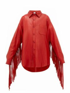 Vetements - Fringed Sleeve Leather Shirt Jacket - Womens - Red