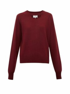 Maison Margiela - Cut-out Wool Sweater - Womens - Burgundy