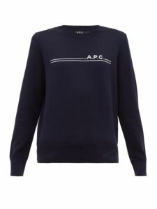 A.p.c. - Logo Jacquard Cotton Blend Sweater - Womens - Navy
