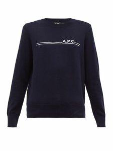 A.p.c. - Logo-jacquard Cotton-blend Sweater - Womens - Navy