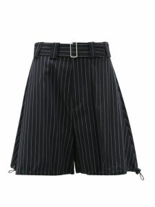 Jw Anderson - Pinstriped Drawstring Cuff Wool Blend Shorts - Womens - Navy