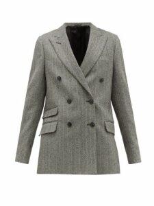 Officine Générale - Manon Double-breasted Wool-blend Blazer - Womens - Black White