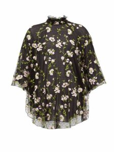 Giambattista Valli - Floral Embroidered Tulle High Neck Blouse - Womens - Black Pink