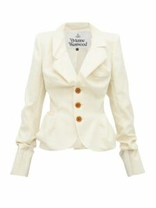 Vivienne Westwood - Single Breasted Ruched Wool Jacket - Womens - Cream