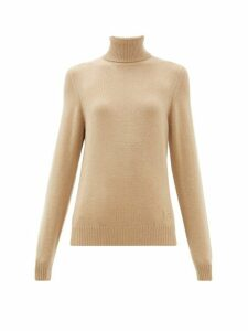 Barrie - Logo Plaque Cashmere High Neck Sweater - Womens - Camel