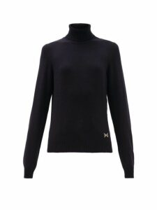 Barrie - Logo Plaque Cashmere Roll Neck Sweater - Womens - Dark Navy