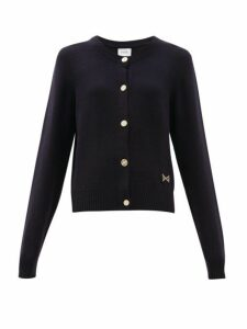 Barrie - Logo Plaque Cashmere Cardigan - Womens - Dark Navy