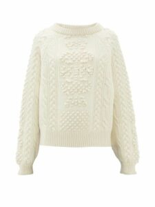 Barrie - Cable-knit Cashmere And Lambswool Sweater - Womens - Ivory