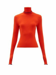 Barrie - Rolling Edge Roll Neck Cashmere Sweater - Womens - Red Multi