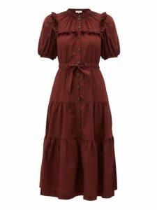 Sea - Rumi Tiered Cotton Midi Dress - Womens - Burgundy