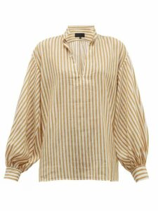 Nili Lotan - Joey Stripe-jacquard Cotton-blend Blouse - Womens - Ivory Multi