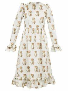Batsheva - Holly Hobbie Print Cotton Velvet Dress - Womens - White
