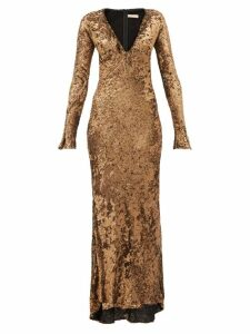 Maria Lucia Hohan - Ailish Plunge-neckline Sequinned Maxi Dress - Womens - Bronze