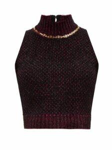 Versace - Chain-embellished High-neck Bouclé Tank Top - Womens - Dark Purple