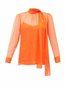 Valentino - Pussy Bow Chiffon Blouse - Womens - Orange