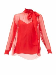 Valentino - Pussy-bow Silk-chiffon Blouse - Womens - Red