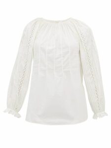 See By Chloé - Scalloped Cotton-poplin Blouse - Womens - Ivory