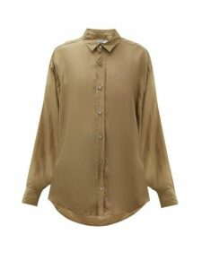 Katharine Hamnett London - Nicola Silk Satin Shirt - Womens - Khaki