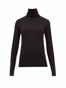 Sara Lanzi - Merino Wool Roll-neck Top - Womens - Black