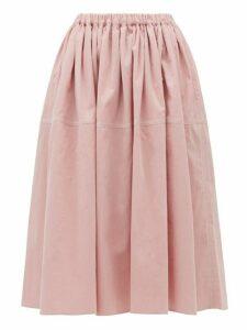 Sara Lanzi - Gathered Cotton-corduroy Skirt - Womens - Light Pink