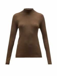 The Row - Sulli Mock Neck Silk And Cotton Blend Sweater - Womens - Brown