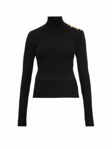 Alexandre Vauthier - Button-detail Ribbed Wool-blend Sweater - Womens - Black