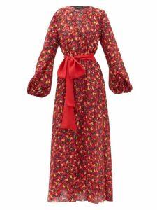 Saloni - Lucia Cherry Print Silk Crepe Midi Dress - Womens - Orange Multi