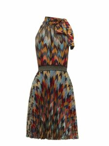 Missoni - Pleated Skirt Chevon Patterned Knitted Dress - Womens - Multi