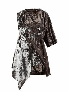 Marques'almeida - Open Back Asymmetric Sequinned Mini Dress - Womens - Silver
