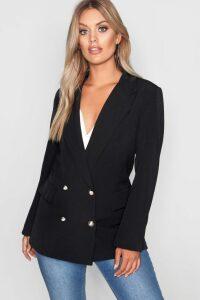 Womens Plus Double Breasted Military Blazer - Black - 22, Black
