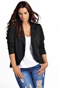 Womens Plus One Button Ponte Blazer - Black - 20, Black