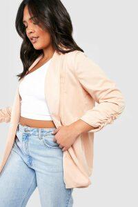 Womens Plus Lapel Detail Ruched Sleeve Blazer - beige - 20, Beige